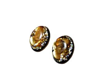 Golden and Black Earrings Oval Earrings Stud Earrings Resin Earrings Hypoallergenic Earrings