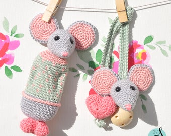 Crochet mouse rattle and soother clip set
