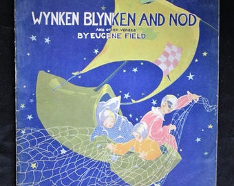 Vintage Original 1930s Children's Paper Book WYNKEN BLYNKEN And NOD And Other Verses. Eugene Field