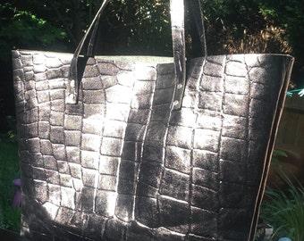 Black Mock Croc Tote leather hanbag