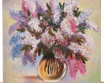 Original Oil Painting on Canvas. Flowers painting. Lilac Painting. Contemporary Fine Art.