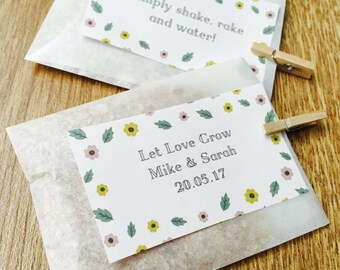 10 x Handmade Personalised Wedding Seed Packets With Wildflower Seeds, Seed Packet Favour, Personalised Wedding Seed Favour