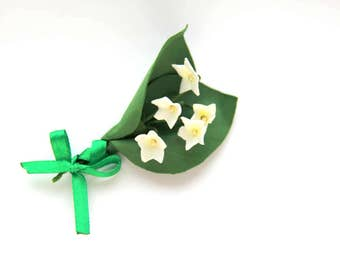 Brooch lilies of the valley, Mothers day gift, Gift for mom, jonguil brooch, brooch Woman, brooch flower, gift for her, brooch handmade