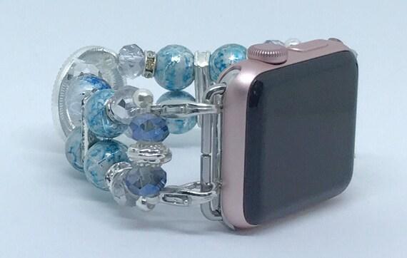 """Apple Watch Band, Women Bead Bracelet Watch Band, iWatch Strap, Apple Watch 38mm, Apple Watch 42mm, Ocean Blue, Clear Sizes 5 3/4"""" - 6"""""""
