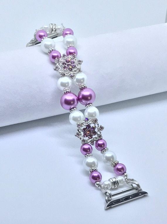 "Apple Watch Band, Women Bead Bracelet Watch Band, iWatch Strap, Apple Watch 38mm, Apple Watch 42mm, Purple Faux White Pearl Sizes 6 3/4 - 7"""