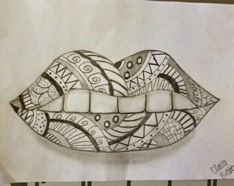 "Pattern Lips Pencil Drawing PRINT, 5"" x 7"""