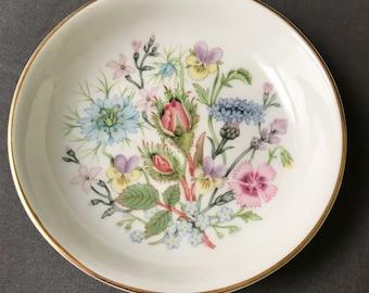 "Vintage Aynsley Bone China Wild Tudor 4.25"" Dish"