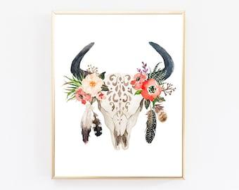 Floral Bull Skull Printable, Skull Printable, Western Print, Tribal Nursery Decor, Boho Art Print, Rustic Deer Print, Tribal Nursery Print
