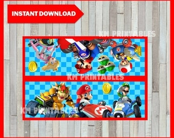 80% OFF SALE Printable Mario Kart Bag toppers instant download, Mario Bros party Bags, Printable Mario Kart Treat bags toppers