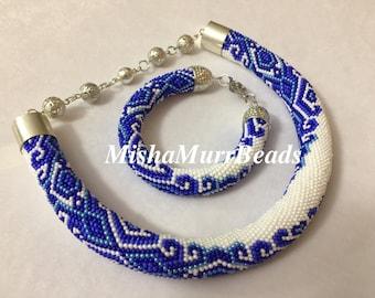 Beaded necklace and bracelet Gzhel