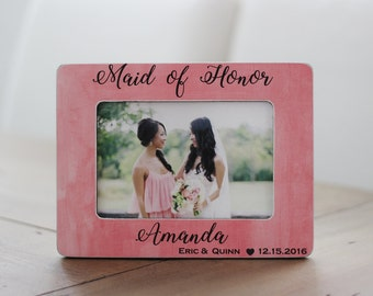 Maid of Honor GIFT Personalized Picture Frame for MOA Maid of Honor Sister Best Friend Gift