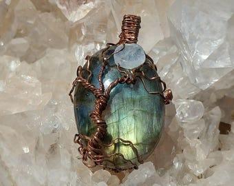 Tree of Life Pendant, Copper Tree of Life Pendant, Labradorite Pendant, Full Moon Necklace, Family Tree Necklace