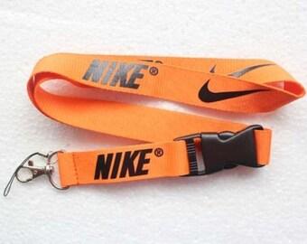 Nike Lanyard - Orange with key ring - Good Quality thick strap!
