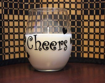 Cheers stemless wine glass soy candle