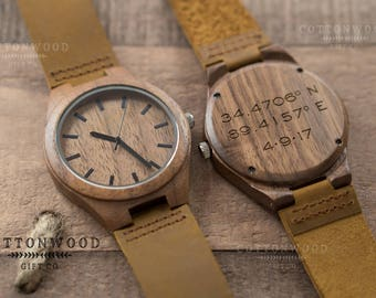 Mens Wooden Watch, Husband Gift, Wood Watch, Mens Gift, Boyfriend Gift, Engraved Watch Men, Gifts for Dad, Gifts for Him, Groomsmen Gift