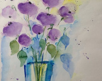 "Watercolor ""purple flowers in the vase"" unique, flowers, nature, 30 x 40 cm"