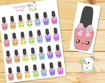 Rainbow Nail Polish  Manicure Kawaii Icon Planner Sticker