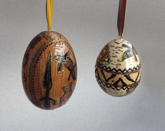 Set of 2 wooden eggs Decorated egg Decoupaged Easter eggs Wooden egg African style Pattern Africa hand decor wooden hanging Easter tree