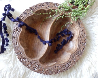 Vintage Carved Wooden Dish Tray, Trinkets, Jewelry, Serving Dish