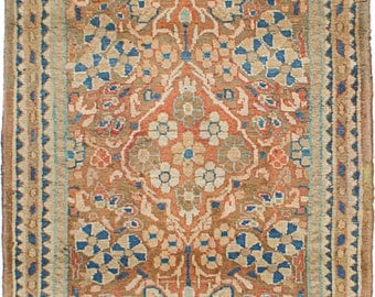 Light Copper and Navy Mahal Nursery Rug 60L x 32W