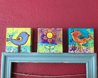 Mixed media canvas, mixed art,  birds