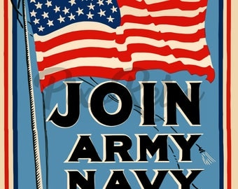 Vintage Digital Download Join Army Navy Marines July American Flag Recruit PDF JPEG PNG 300 dpi Printable Wall Art Poster for home decor