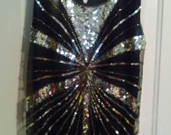 Black sequin flapper look dress