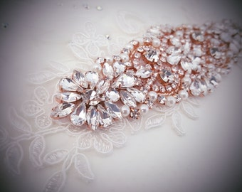 Weddings, Crystal headband, Rose Gold Wedding headband, Rhinestone headband, Lace headband, Bridal headpiece, Rose Gold Accessories