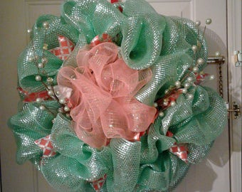 Light green and coral door wreath