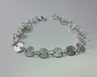 Hammered silver bracelet Law 925