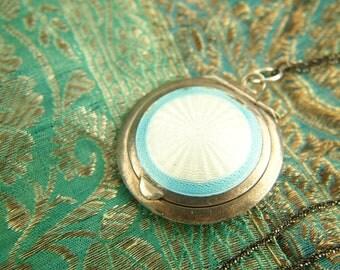 Enamel Compact Locket Necklace - Sterling Silver - British - Wedding Locket - Vintage Jewelry