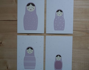 4 set postcards matryoshka pink