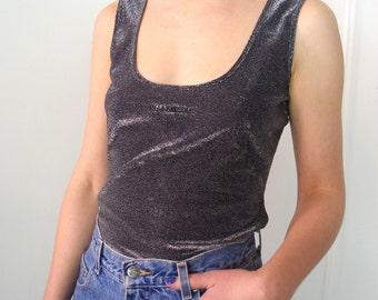 MOSCHINO jeans silver glitter tank top 90's Sz M