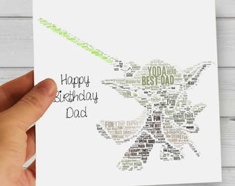 Personalized Gift for Him/Her/Dad - Printable Star Wars Word Art. Perfect for Star Wars Yoda Fans, Valentine's Day, Father's Day, Birthday