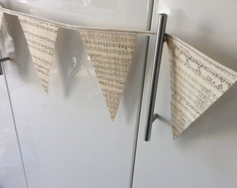 Music Bunting vintage Musical Notes, Garland Decoration
