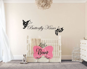 Butterfly kisses nursery decal wall decal nursery art custom lettering custom decal custom vinyl butterfly decal