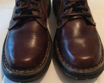 Vintage 90's chunky brown leather oxfords Born size 6.5 or 37