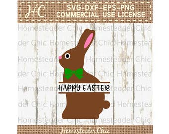 Split Bunny SVG - Split Easter Bunny SVG - Split Easter SVG - Chocolate Bunny svg - Easter svg designs - commercial use svg png dxf eps