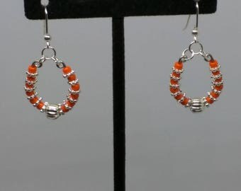 Clemson Tiger Orange bead with silver spacers hoop earrings.  1 1/2 inches. FREE SHIPPING