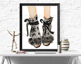 Marchesa Bridal Shoes, gifts for her, brides, couture, art prints, PinalesIllustrated