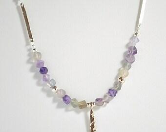 Flourite Hammered Link Necklace