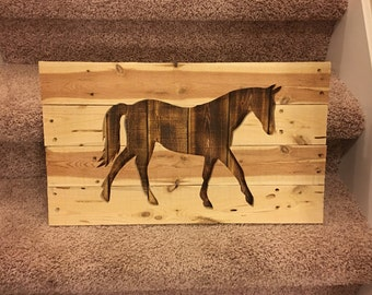 Wooden horse sign