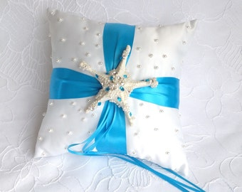 Ring bearer pillow for a seaside wedding/sea star cushion of alliances/beach ceremony