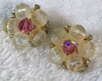 Vintage Beaded Clip On Earrings with Pink AB Crystal Center - Unsigned 7/8 inch in diameter