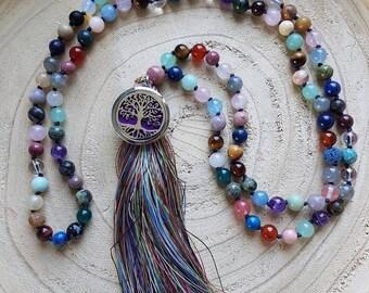 Mala Abundance with fragrance pendant for essential oil, Tiger's eye, Rose Quartz, Carnelian, Sun stone and more DoTerra