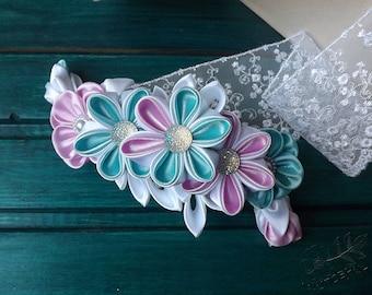White Blue and Rose Kanzashi Flower Barette