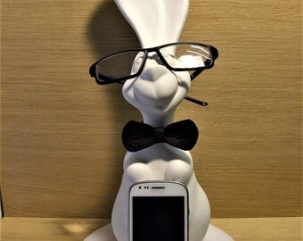 Operational base smartphone, charging and eyeglass case-George is a ceramic rabbit with hand-made felt bow tie