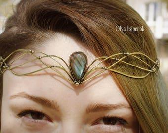 Wedding diadem Bridal headpiece Elven weedding Hair accessory Fairy Princess Celtic tiara Labradorite gemstone  Fantasy inspired