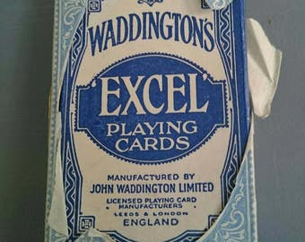 Vintage Waddington's Playing Cards. Paper Wrapper. Excel.