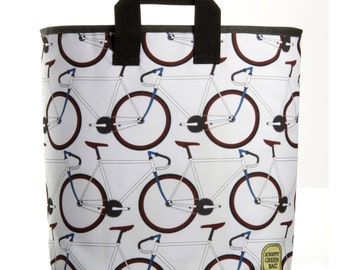 Reuseable Market Bag - Made from Recycled Materials - Eco-Friendly - Washable - Grocery Bag - Bikes - White - Dye Sublimation